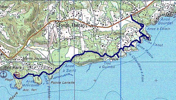 anse eblain, carte Ste anne Guadeloupe