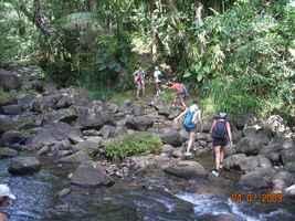traversée, rivière quiok, route mamelles, guadeloupe